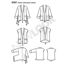 Misses' cozy jacket with patch pockets can have a straight or handkerchief hemline. Vest can have a straight hem with patch pockets or a high-low without pockets. New Look sewing pattern.