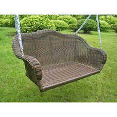 @Overstock.com - Resin Wicker Hanging Loveseat Swing - Swing in comfort and style, even putting your feet up with a good book, on this hanging wicker loveseat swing. This durable wicker is made from resin and has been hand woven over a steel frame. It is weather resistant, and will hold up to 400 pounds. http://www.overstock.com/Home-Garden/Resin-Wicker-Hanging-Loveseat-Swing/5093606/product.html?CID=214117 $255.99