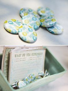 "Cute as a Button theme - especially love the antique vibe, the ""memory"" cards, and the button lollipops"