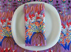 Lavender Red Blue Teal Cloth Napkins 4 by ItsHandmadebyArianne