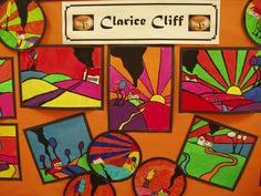 An incredibly bright and colourful display, showing work based on the ceramics designer Clarice Cliff. Art Cart, Clarice Cliff, 6th Grade Art, Batik Art, Learn Art, Art Lessons Elementary, Elements Of Art, Preschool Art, Teaching Art