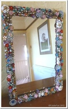 Jewelled upcycled recycled jewelled mirror