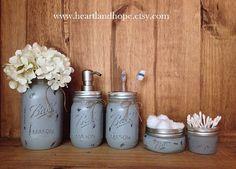 GRAY Five 5 Piece Mason Jar Bathroom Accessories by HeartlandHope
