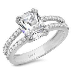 3 55 Ct Engagement Ring Simulated Cushion Cut 14k White Gold Bridal Jewelry VVS1 | eBay