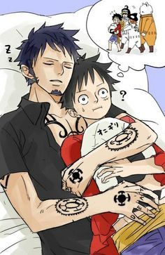 Trafalgar D Water Law Monkey D Luffy One Piece So cuteeee Sanji One Piece, One Piece Ship, One Piece 1, One Piece Fanart, One Piece Anime, One Piece Images, One Piece Pictures, Manga Anime, Anime Art