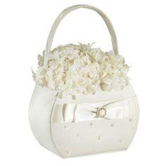 Lillian Rose Ivory Pearl Flower Basket