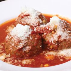 Meatballs: The Spuntino Way via Epicurious.        RDI Twist:  Exclude the raisins and the pine nuts. Also another big secret is instead of soaking the bread in water I soak it in milk. Helps to make the meatballs super moist.