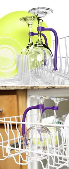 Tether & Protect your Wine & Champagne Glasses from Breaking in the Dishwasher .. Genius!