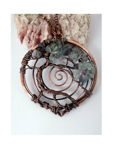 Wire Wrapped, Tree of Life Pendant Necklace, Fluorite, Bonsai, Handmade, Antiqued Copper, Wire Jewelry, February Birthstone