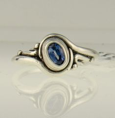 Sterling Silver 6x4mm Blue Sapphire Ring - Handmade One of a Kind Artisan Jewelry Made in The USA with Free Domestic Shipping! Denim and Diamonds Jewelry