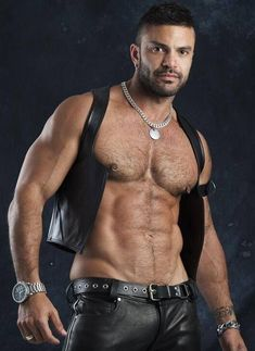 Just a Leather addicted Guy From Germany Leather Vest, Black Leather, Leather Trousers, Hommes Sexy, Hot Hunks, Raining Men, Hairy Chest, Shirtless Men, Hairy Men