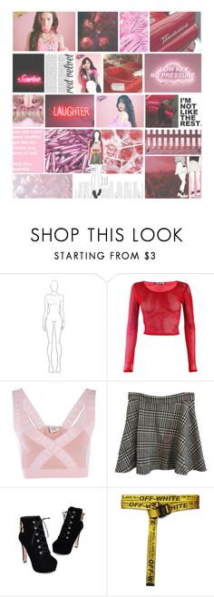 """""""young dumb & broke"""" by luhansolo ❤ liked on Polyvore featuring Hype, American Apparel, JY Shoes, Off-White, Hot Topic, Pink, red, girly, kpop and fashionset"""