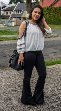 Amanda Santiago, Shoulder, Pants, Women, Fashion, Black White, Style, Moda