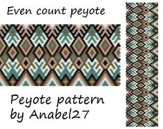 Even Count Peyote Pattern 34 Bead Pattern Wide by Anabel27shop