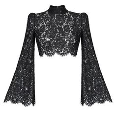 This **Rasario** Cropped Lace Top features a mock neck and a fitted silhouette with bell sleeves. Kpop Fashion Outfits, Stage Outfits, Mode Outfits, Fashion Dresses, Womens Fashion, Lacy Tops, Lace Crop Tops, Cropped Tops, Sexy Bluse