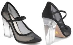 Prada mesh Mary Janes with perspex heel
