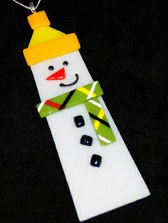 fused glass ornament | SnowPapa, Snowman Ornament in Fused Glass, Handcrafted, Each Unique ...