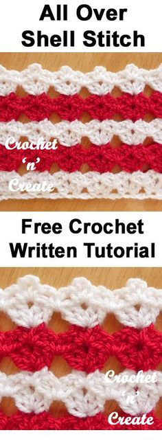 All over shell stitch, free written tutorial from crochet 'n' create. #crochet