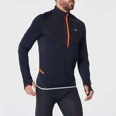 Bluză cu fermoar Alergare Kiprun Warm Negru/ Albastru Bărbați KIPRUN - Decathlon.ro Courses, Wetsuit, T Shirt, Athletic, Warm, Swimwear, Jackets, Clothes, Outdoor