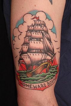 Traditional Ghost Pirate Ship With Banner Tattoo On Right Half Sleeve