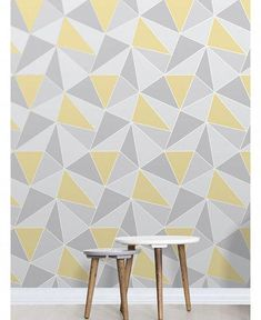 Apex Geometric Wallpaper Yellow and Grey Fine Decor This Apex Geometric Wallpaper in tones of yellow and grey features a contemporary geometric pattern with a metallic outline. Free UK delivery available More from my Wallpaper Geometric Wallpaper Living Room, Home Wallpaper, Grey Wallpaper Office, Mustard And Grey Wallpaper, Yellow Geometric Wallpaper, Gray Wallpaper, Kitchen Wallpaper, Wallpaper Panels, Grey And Yellow Living Room