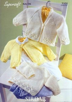 This is one set of knitting patterns that you need for a new baby. A lovely cardigan and pullover set for your baby or to make for a baby shower gift. Sweet and simple, You could omit the lacy part for a little boy. Sirdar Knitting Patterns, Baby Cardigan Knitting Pattern Free, Cardigan Pattern, Baby Patterns, Knit Patterns, Vintage Patterns, Sweater Patterns, Brei Baby, Knitting Supplies