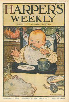 Alice Beach Winter Baby Thanksgiving Vintage 1910 Harper's Magazine Cover | eBay