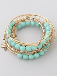 Alex and Ani Turquoise Expandable Wire Bangle Set Profile Photo #GoldBracelets