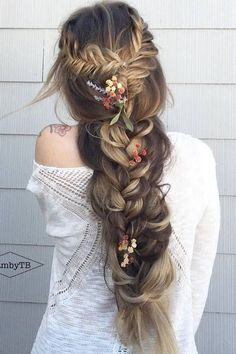 Wedding Hairstyles For Long Hair 100 Ridiculously Awesome Braided Hairstyles: Rapunzel Fishtail Braids - Braids are a practical and beautiful addition to any hairstyle. They offer texture, support and style and can be achieved Boho Wedding Hair, Wedding Hairstyles For Long Hair, Braids For Long Hair, Pretty Hairstyles, Bridal Hair, Teenage Hairstyles, Amazing Hairstyles, Hairstyle Ideas, Long Braided Hairstyles