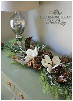 Christmas garland, using brown, gold and silver Merry Christmas, Christmas Greenery, Woodland Christmas, Rustic Christmas, Winter Christmas, Christmas Wreaths, Christmas Decorations, Xmas, Christmas Crafts