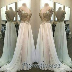 #promdress01 #promdress, beautiful white chiffon sequins v-neck backless short sleeve A-line prom dress for teens, ball gown, occasion dress for #prom2015 -> www.promdress01.c... #coniefox #2016prom