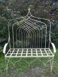 Double Gothic Wrought Iron High Back Bench , Patio Seating & Deck Furniture Iron Furniture, Deck Furniture, High Back Bench, Heavy Duty Beach Chairs, Scandinavian Dining Chairs, Patio Seating, Outdoor Settings, Upholstered Chairs, Garden Inspiration
