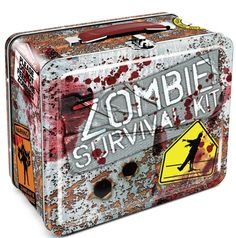 "Zombie Survival Tin Lunch Box - Now you can proudly go to school, work or just about anywhere with this snappy Zombie Survival tin lunchbox measuring 7.75"" x 6.75"" x 4.13"". Perfect for food, fun or your Zombie Survival gear.   List Price: $12.99 Price: 	$10.79  You Save: $2.20 (17%)    link:"