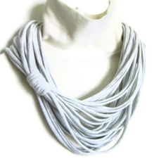 Repurposed T Shirt Necklace Infinity Scarf Upcycled Grey Jersey Knit