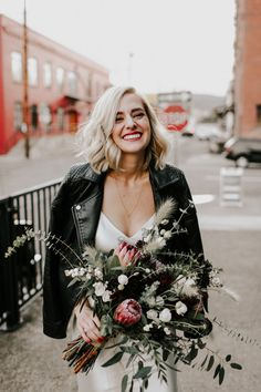 We've said it before and we'll say it again: Leather jackets + wedding dresses = a match made in heaven Wedding Pics, Chic Wedding, Wedding Bride, Fall Wedding, Wedding Styles, Wedding Dresses, Dream Wedding, Leather Jacket Dress, Leather Jackets