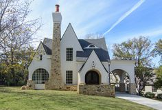 White House Exterior Stone - white house exterior stone Allowed to my own website, in this moment I'll provide you with regarding keyword. White Stucco House, Tudor House Exterior, White Exterior Houses, White Houses, White Siding, Style At Home, Porte Cochere, Storybook Homes, Tudor Style Homes