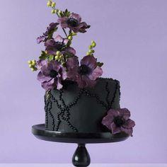 Dramatic Black Cake  Purple Flowers