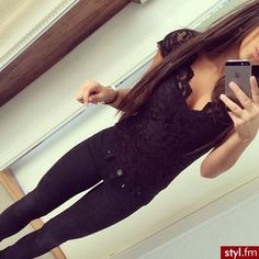 Black lace top, straight hair & skinny jeans. Probably go good with some cute heels.