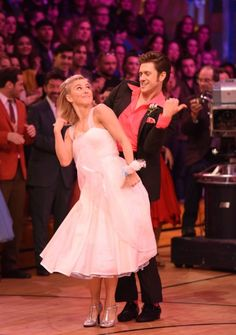 Still of Julianne Hough and Aaron Tveit in Grease: Live (2016)