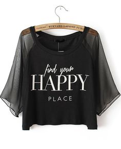 To find out about the Black Contrast Mesh Yoke HAPPY Print Crop T-Shirt at SHEIN, part of our latest T-Shirts ready to shop online today! Crop Top Outfits, Cute Casual Outfits, Pretty Outfits, Girls Fashion Clothes, Teen Fashion Outfits, Girl Outfits, Belly Shirts, Tee Shirts, Mode Kawaii