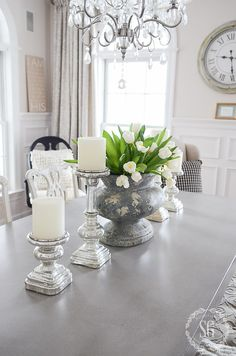 French Country Dining Room Centerpiece JUST A DINIA Big Chippy Urn Works Perfectly On The Table I Filled It With