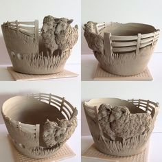 """Fresh out of the studio today ..another made to order Sheep yarn bowl. 7.5"""" diameter unfired earthenware. This is a made to order item at earthwoolfire.etsy.com"""