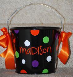 Polka Dot Bucket - Halloween - Personalized