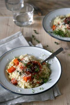Pompoenrisotto met geitenkaas, crunchy pancetta & tijm