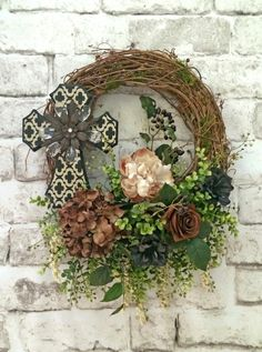 Cross Wreath Summer Wreath for Door Fall by AdorabellaWreaths,