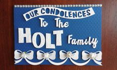 Our condolences royal blue and white Inspired by The Card Lady Charissa Abrahams Condolences Card, Drink Sleeves, Royal Blue, Blue And White, Inspired, Lady, Decor, Sympathy Card Messages, Decoration