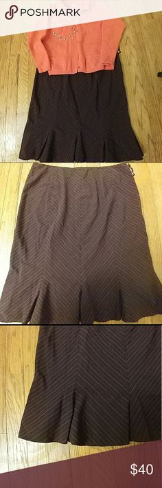"""NWT Nine West aubergine/purple trumpet skirt NEW WITH TAGS aubergine/purple/magenta diagonal pinstripe trumpet skirt from Nine West.  Trumpet pleats at the bottom add an adorable little """"kick"""" when moving!  In excellent condition. 14. 79 Nine West Skirts"""