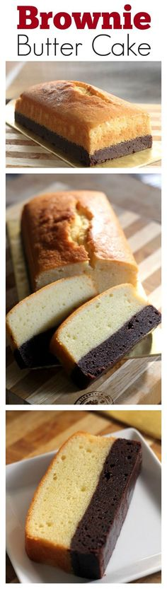Brownie butter cake - thick brownie and rich butter cake combined into one decadent and to-die-for cake! Click for recipe | rasamalaysia.com