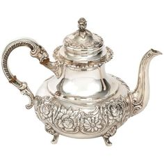 1930s Alt-Heidelberg Sterling Tea Set ❤ liked on Polyvore featuring home, kitchen & dining, teapots, kitchen, dishes, home decor, vintage, sterling silver teapot, floral tea set and sterling silver tea set