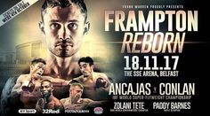 Carl Frampton's first contest with new promoter Frank Warren is to take place in Belfast on 18 November.  Frampton 30 announced his link-up with Warren on Sunday and the three-time world champion will face an as yet unconfirmed opponent at the SSE Arena.  Jamie Conlan also from Belfast will challenge Jerwin Ancajas of the Philippines for the IBF world super-flyweight belt on the same bill.  Zolani Tete and Paddy Barnes will also be on the undercard of the programme.  South African Tete will…